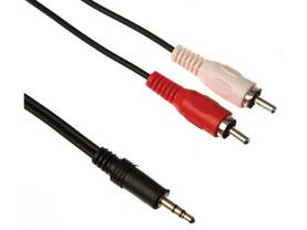 3,5MM STEREO PLUG TO 2 x RCA AUDIO PLUG / BASIC / 5,0 / M-M - 3.5mm plugi - PAC205B050 - 1