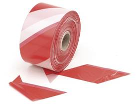RED/WHITE SAFETY TAPE - 500m - Turvatuotteet - 1187-500 - 1