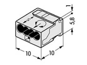 MICRO JUNCTION AND DISTRIBUTION CONNECTORS 4-CONDUCTOR TERMINAL BLOCK, LIGHT GREY - WAGO liittimet - WG243304 - 1