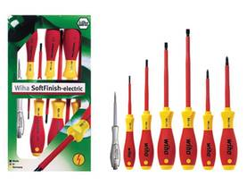 SOFTFINISH ELECTRIC VDE/GS SCREWDRIVER SET - SLOTTED + PHILLIPS + VOLTAGE TESTER- 7 pcs - WIHA - 320 - Sarjat - WH00834 - 1