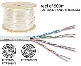 UTP CABLE, CAT5E, 4 x 2 x 0.51mm, 4 TWISTED PAIRS, LENGTH ON REEL : 100m - CAT5E/CAT6 kaapelit - UTP8025 - 1