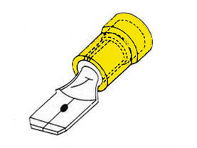 MALE CONNECTOR 6.4mm YELLOW, 10pcs/blister - Lattaliittimet - uros - FYM - 1
