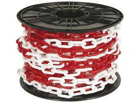 RED/WHITE CHAIN 8mm ON REEL - 25m - Turvatuotteet - SCR8R - 1